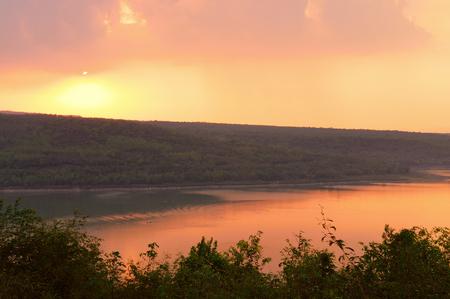 ratchasima: Beautiful sunset over lake at Lam Ta Khong Reservoir, Nakhon Ratchasima province, Thailand.