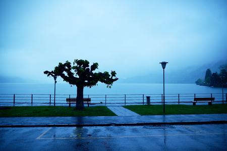 canton berne: Rainy day at Lake Brienz in the district of Interlaken, Berne Canton, Switzerland. Stock Photo