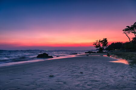 Beautiful sunset over the sea at Rayong beach in Rayong province, Thailand.