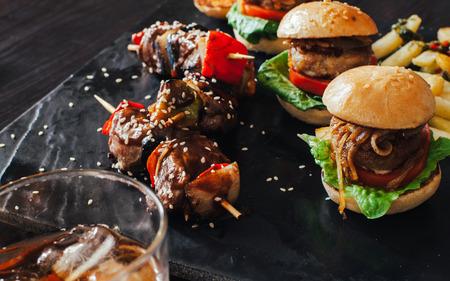 entrees: mini burgers Stock Photo