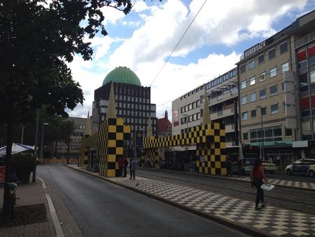 tran: Modern tran station landmark in Hanover Germany Stock Photo
