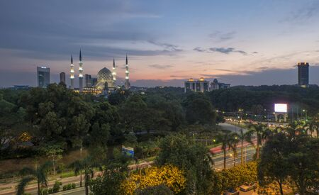 alam: Shah Alam City with Sultan Salahuddin Mosque at Dusk