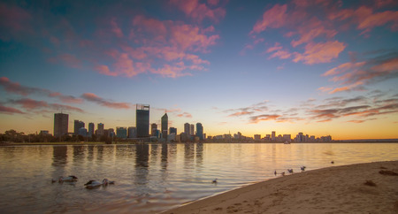 perth: Western Australia - Sunrise View of Perth Skyline from Swan Rive