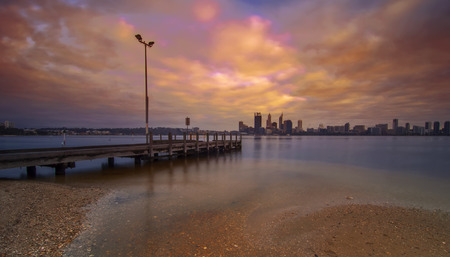 perth: Western Australia - Dramatic Sunrise View of Perth Skyline from Swan River