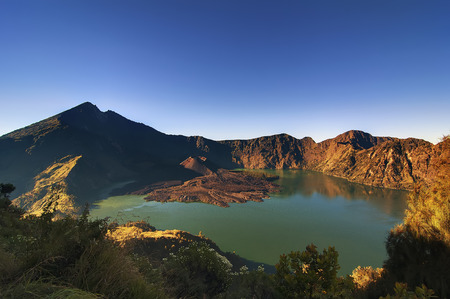 crater lake: Jari Baru Mount inside Mount of Rinjani, Lombok, Indonesia.