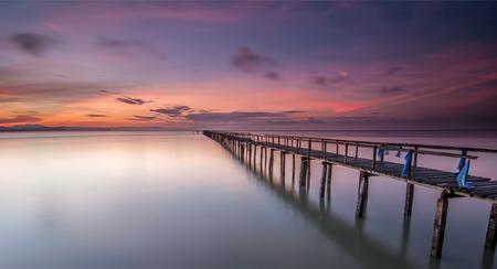 pinang: Long Exposure Sunrise Seascape with Abandon Jetty, Teluk Tempoyak, Pulau Pinang, Malaysia