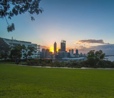 park: Western Australia - Sunrise View with Rays of Light  Perth Skyline from Kings Park