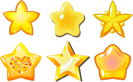 Cartoon vector star icons set, glow buttons for fantasy game, isolated on transparent background.