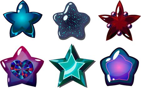 Cartoon star icons set, glow buttons for fantasy game, isolated on white background.
