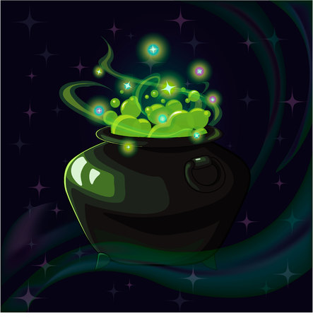 gemstone: Cartoon fantasy magic icon for computer game. Magic pot, gaming object for app. Vector illustration.