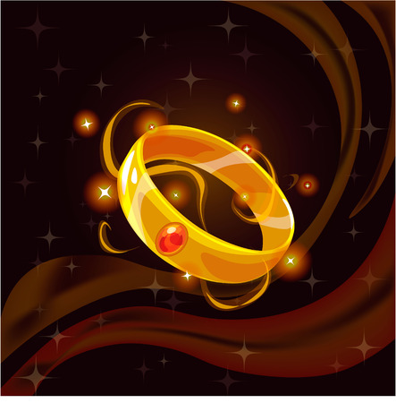 sorcery: Cartoon fantasy magic icon for computer game. Magic ring, gaming object for app. Vector illustration.