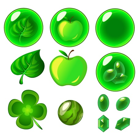 Vector isolated green bubbles set Stock Photo