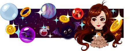Vector title background with magic items, bubbles and cute cartoon girl. Illustration