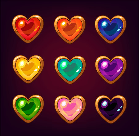 Cartoon colorful heart gemstones for mobile game, isolated on dark background with stars.