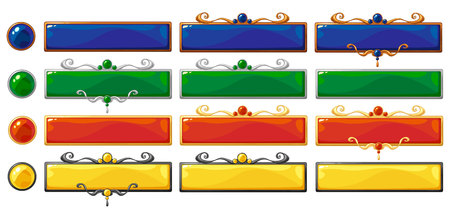 Cartoon vector title banners set for fantasy game design. Bronze, silver and golden ranking frames with gemstones. Isolated on white background.