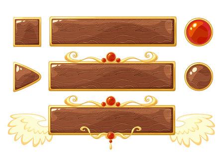 Cartoon vector title wood banners set for fantasy game design. Golden ranking frames with gemstones.