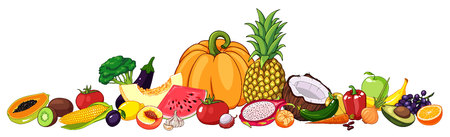 Vector illustration of fruits and vegetables with various edible objects. Colorful hand drawn borders for restaurant or market design.