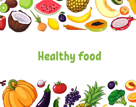 illustration of fruits and vegetables with various edible objects.