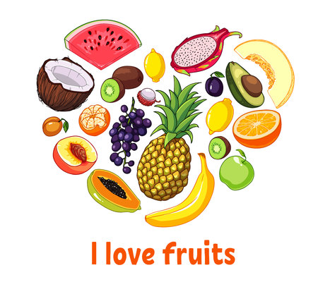 Isolated heart silhouette made of fruits. Healthy food set concept.