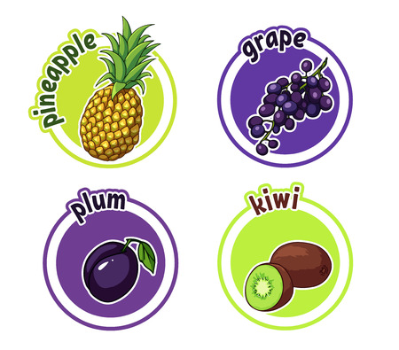Four stickers with different fruits. Pineapple, grape, plum and kiwi. Stock Illustratie