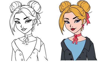 Pretty cartoon girl portrait. Hand drawn vector illustration. Contour and colored versions. Blonde hair, blue eyes, grey jacket. Can be used for fashion magazine, cards, coloring book etc.