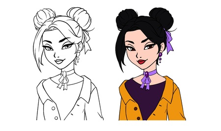 Pretty cartoon girl portrait. Hand drawn vector illustration. Contour and colored versions. Black hair, grey eyes, yellow jacket. Can be used for fashion magazine, cards, coloring book etc. Ilustracja