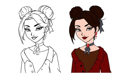 Pretty cartoon girl portrait. Hand drawn vector illustration. Contour and colored versions. Brown hair, brown eyes, red jacket. Can be used for fashion magazine, cards, coloring book etc.