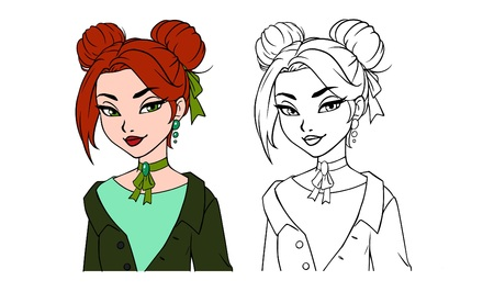 Pretty cartoon girl portrait. Hand drawn vector illustration. Contour and colored versions. Red hair, green eyes, green jacket. Can be used for fashion magazine, cards, coloring book etc.