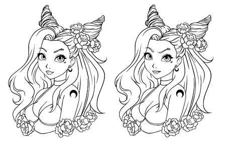 Pretty cartoon girl with wavy hair, wearing swimsuit and wreath. Hand drawn vector illustration. Can be used for coloring book, prints, tattoo, cards, games, fashion magazines etc. Ilustracja