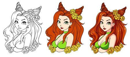 Pretty cartoon girl with wavy red hair, wearing green swimsuit and wreath. Hand drawn vector illustration. Can be used for coloring book, prints, tattoo, cards, games, fashion magazines etc.