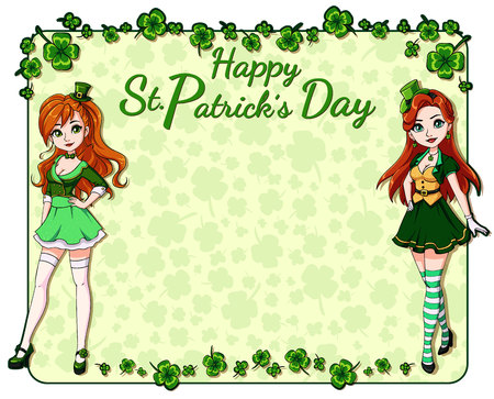 St. Patrick s day background with clover leaves and two pretty girls wearing leprechaun costume. Hand drawn vector illustration.