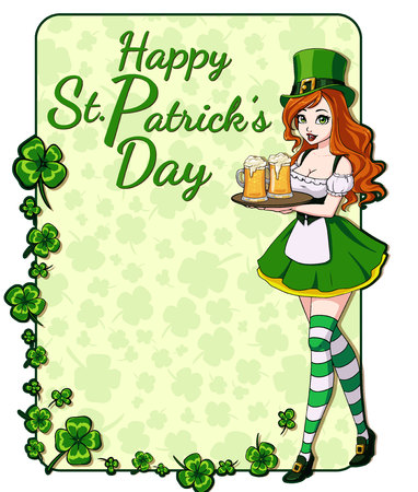 St. Patrick s day background with clover leaves and pretty girl holding beer mug. Hand drawn vector illustration. Ilustracja