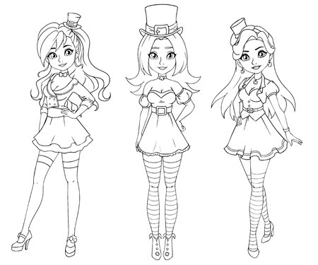 Set of three pretty girls wearing St. Patrick s day costume. Hand drawn contour illustration on white background. Can be used for coloring books, cards, games etc.