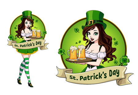 Pretty leprechaun girl with beer, St. Patrick s Day icon design with space for text. Illusztráció