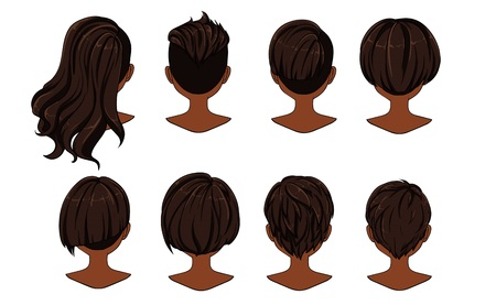 Beautiful hairstyle of woman hair. Rear view.