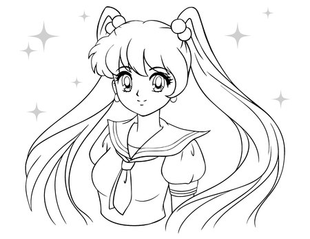Cute cartoon girl with tails in school sailor uniform. Contour draw for coloring book, children games. 90 s anime and manga style hand drawn vector illustration.