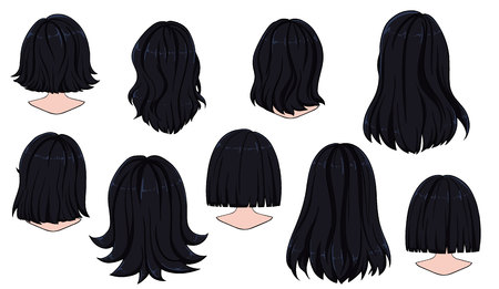 Hermoso peinado de cabello de mujer. Vista trasera. Ilustración de vector