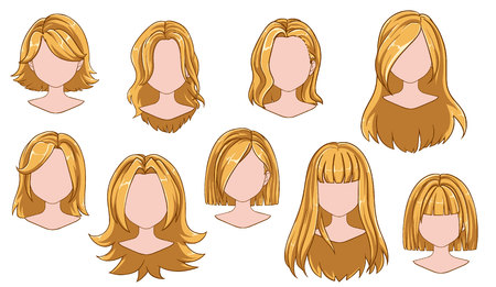 Beautiful hairstyle woman modern fashion for assortment. Blonde long, short hair, curly hair salon hairstyles and trendy haircut vector icon set isolated on white background. Hand drawn illustration.  イラスト・ベクター素材