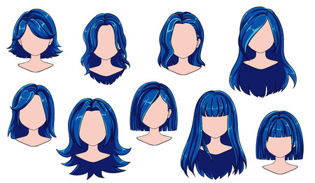 Beautiful hairstyle woman modern fashion for assortment. Blue long, short hair, curly hair salon hairstyles and trendy haircut vector icon set isolated on white background. Hand drawn illustration. Ilustracja
