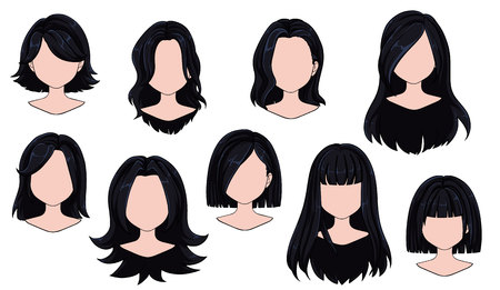 Beautiful hairstyle woman modern fashion for assortment. Black long, short hair, curly hair salon hairstyles and trendy haircut vector icon set isolated on white background. Hand drawn illustration.
