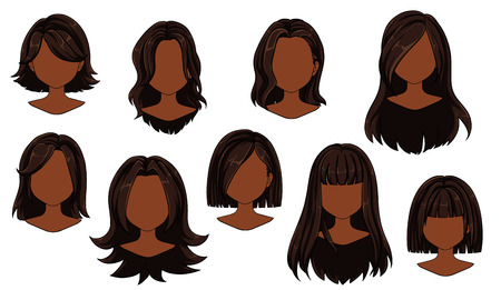 Beautiful hairstyle woman modern fashion for assortment. Brown long, short hair, curly hair salon hairstyles and trendy haircut vector icon set isolated on white background. Hand drawn illustration.