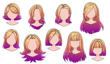 Moderne Mode der schönen Frisurfrau für Sortiment. Ombre langes, kurzes Haar, lockige Friseursalonfrisuren und trendige Haarschnitt-Vektorsymbole einzeln auf weißem Hintergrund. Handgezeichnete Abbildung.