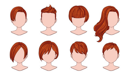 Beautiful hairstyle woman modern fashion for assortment. Red short hair, curly hair salon hairstyles and trendy haircut vector icon set isolated on white background. Hand drawn illustration. Иллюстрация