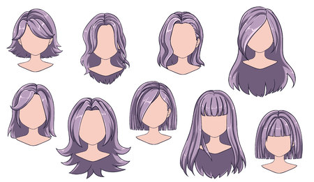 Beautiful hairstyle woman modern fashion for assortment. Grey long, short hair, curly hair salon hairstyles and trendy haircut vector icon set isolated on white background. Hand drawn illustration.