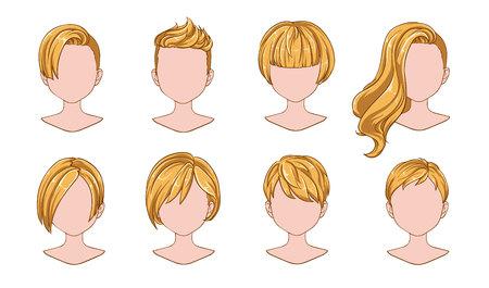 Moderne Mode der schönen Frisurfrau für Sortiment. Blondes kurzes Haar, lockige Friseursalonfrisuren und trendiger Haarschnitt-Vektor-Icon-Set isoliert auf weißem Hintergrund. Handgezeichnete Abbildung.
