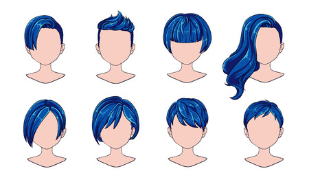 Beautiful hairstyle woman modern fashion for assortment. Blue short hair, curly hair salon hairstyles and trendy haircut vector icon set isolated on white background. Hand drawn illustration.