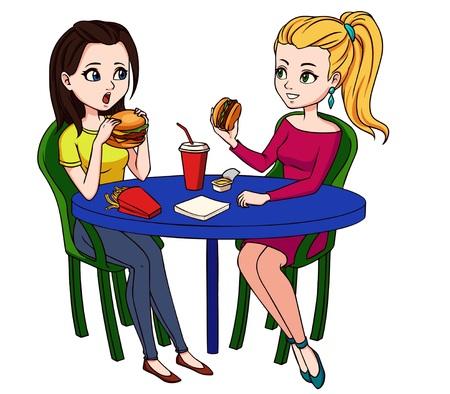 Amigas comiendo comida rápida en el restaurante. Dos personas sentadas, hablando y almorzando hamburguesas, papas fritas y bebiendo refrescos. Ilustración de vector de dibujos animados dibujados a mano, aislado sobre fondo blanco.