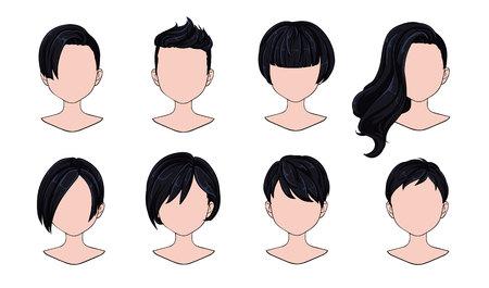 Moderne Mode der schönen Frisurfrau für Sortiment. Schwarzes kurzes Haar, lockige Friseursalonfrisuren und trendiger Haarschnitt-Vektor-Icon-Set isoliert auf weißem Hintergrund. Handgezeichnete Abbildung. Vektorgrafik