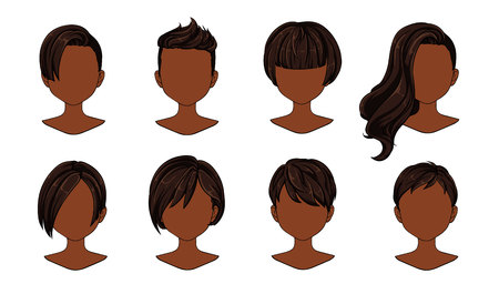 Beautiful hairstyle woman modern fashion for assortment. Brown short hair, curly hair salon hairstyles and trendy haircut vector icon set isolated on white background. Hand drawn illustration. Ilustracja