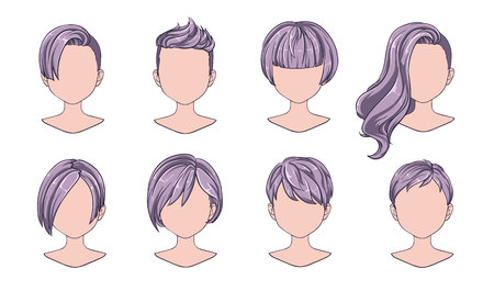 Beautiful hairstyle woman modern fashion for assortment. Grey short hair, curly hair salon hairstyles and trendy haircut vector icon set isolated on white background. Hand drawn illustration.